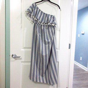 Isabel maternity one shoulder tassel trim dress S